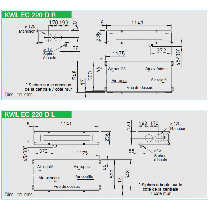 Vmc double flux helios kwl ec 220 d - Calcul debit vmc double flux ...